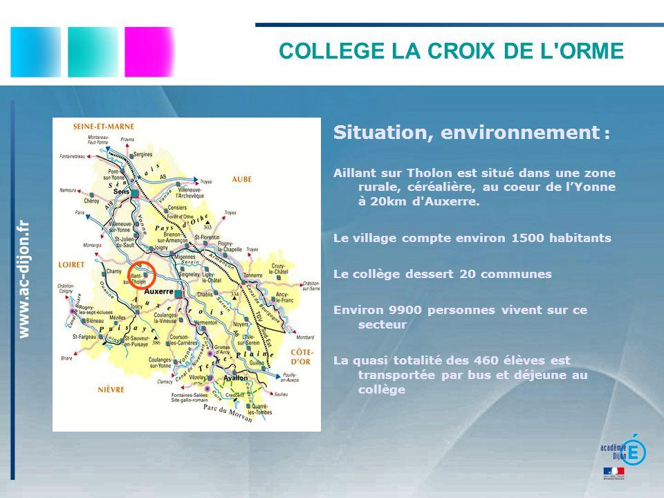 COLLEGE LA CROIX DE L'ORME Situation, environnement : Aillant sur Tholon est situé dans une zone rurale, céréalière, au coeur de lYonne à 20km d'Auxer