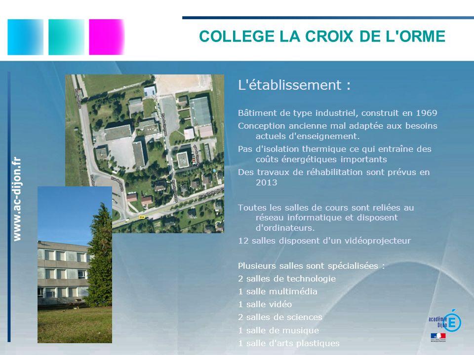 COLLEGE LA CROIX DE L'ORME L'établissement : Bâtiment de type industriel, construit en 1969 Conception ancienne mal adaptée aux besoins actuels d'ense
