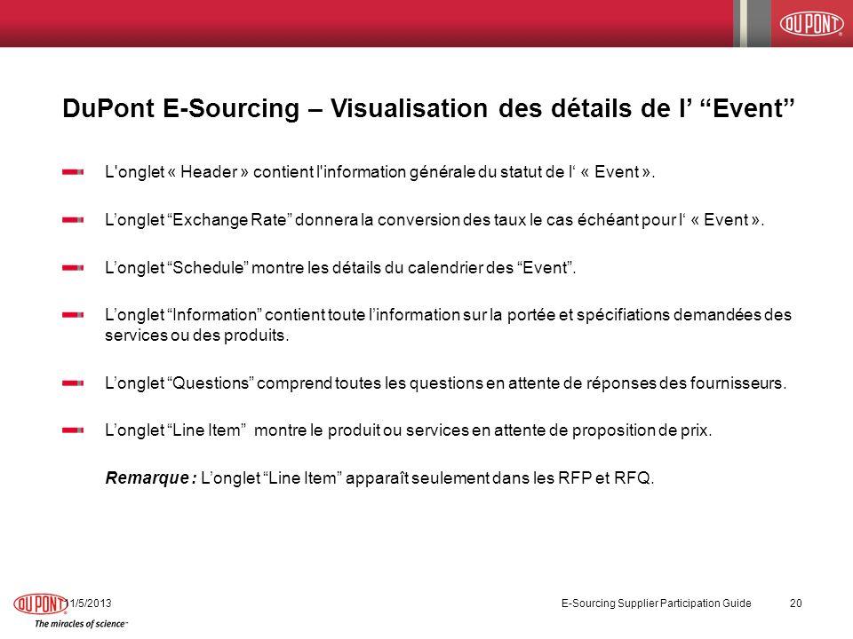 DuPont E-Sourcing – Visualisation des détails de l Event 11/5/2013 E-Sourcing Supplier Participation Guide 20 L'onglet « Header » contient l'informati