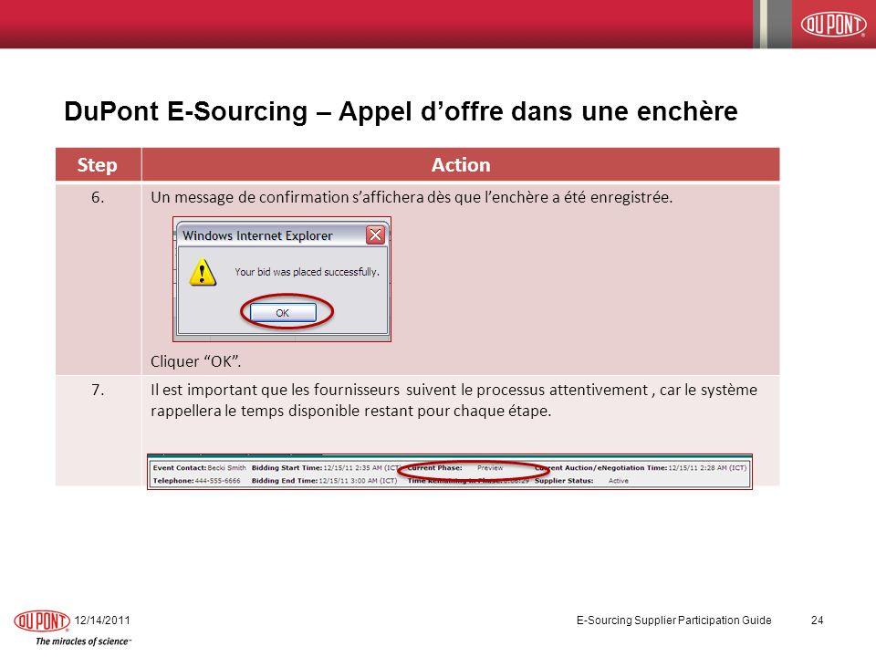 DuPont E-Sourcing – Appel doffre dans une enchère 12/14/2011 E-Sourcing Supplier Participation Guide 24 StepAction 6.Un message de confirmation saffic