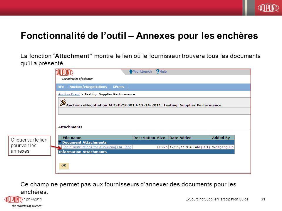 Fonctionnalité de loutil – Annexes pour les enchères La fonction Attachment montre le lien où le fournisseur trouvera tous les documents quil a présen