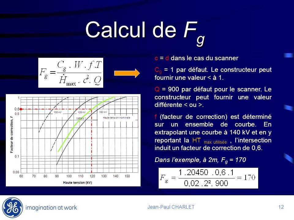12 Jean-Paul CHARLET Calcul de F g c = d dans le cas du scanner C g = 1 par défaut. Le constructeur peut fournir une valeur < à 1. Q = 900 par défaut