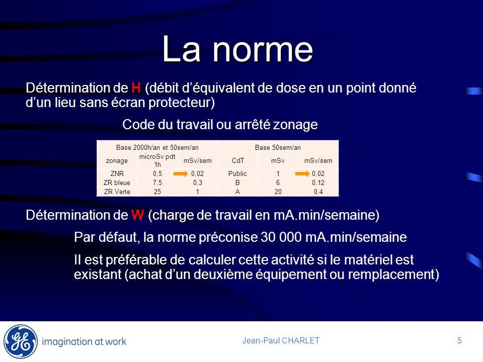 5 5Jean-Paul CHARLET La norme Détermination de H (débit déquivalent de dose en un point donné dun lieu sans écran protecteur) Code du travail ou arrêt