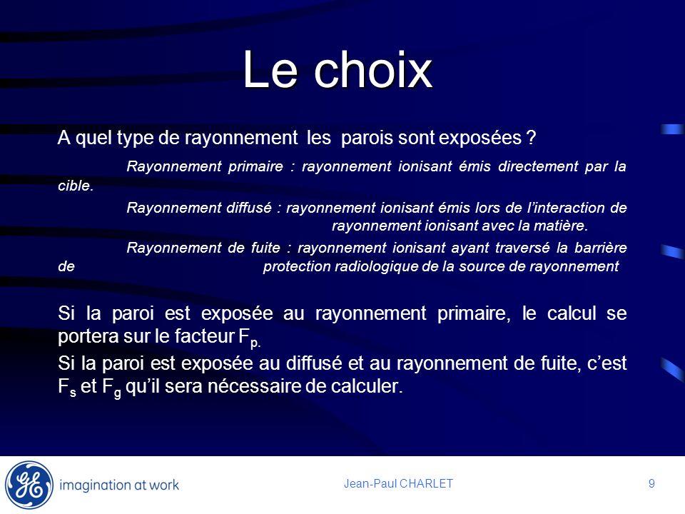 9 9Jean-Paul CHARLET Le choix A quel type de rayonnement les parois sont exposées ? Rayonnement primaire : rayonnement ionisant émis directement par l