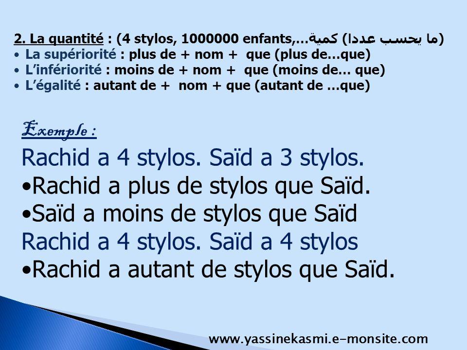 2. La quantité : (4 stylos, 1000000 enfants,…(ما يحسب عددا) كمية La supériorité : plus de + nom + que (plus de…que) Linfériorité : moins de + nom + qu