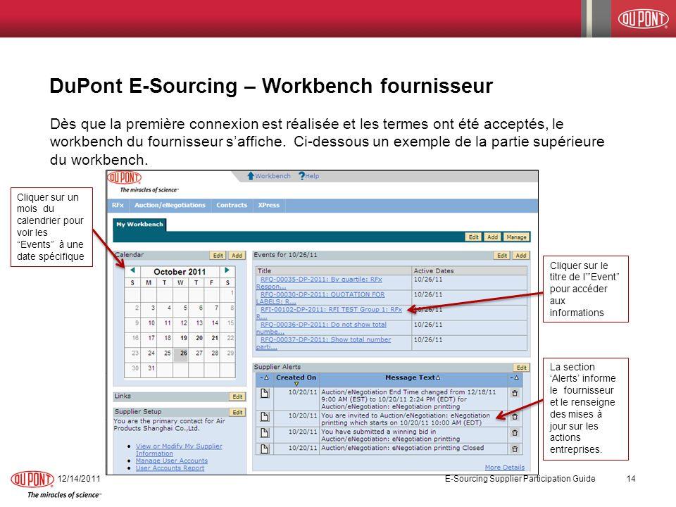 DuPont E-Sourcing – Workbench fournisseur 12/14/2011 E-Sourcing Supplier Participation Guide 14 Dès que la première connexion est réalisée et les term