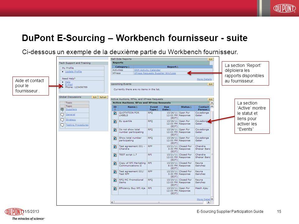 DuPont E-Sourcing – Workbench fournisseur - suite 11/5/2013 E-Sourcing Supplier Participation Guide 15 Ci-dessous un exemple de la deuxième partie du