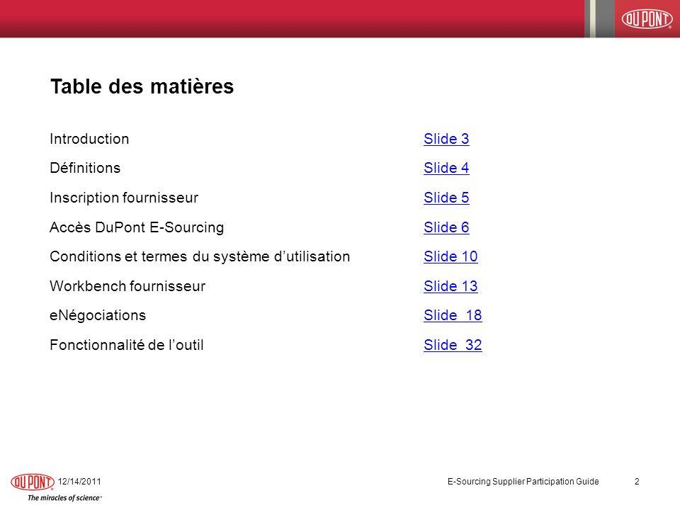 Table des matières IntroductionSlide 3Slide 3 DéfinitionsSlide 4Slide 4 Inscription fournisseurSlide 5Slide 5 Accès DuPont E-SourcingSlide 6Slide 6 Co
