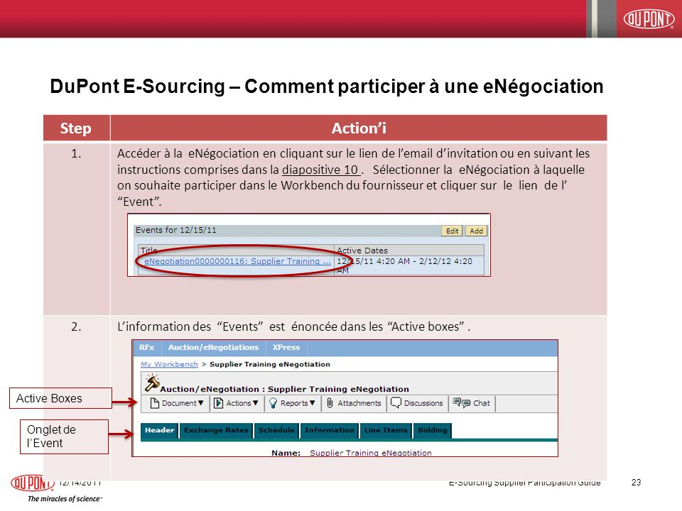 DuPont E-Sourcing – Comment participer à une eNégociation 12/14/2011 E-Sourcing Supplier Participation Guide 23 StepActioni 1.Accéder à la eNégociatio