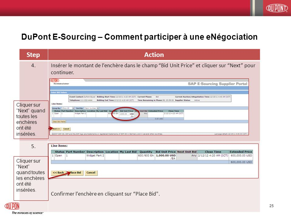 DuPont E-Sourcing – Comment participer à une eNégociation 12/14/2011 E-Sourcing Supplier Participation Guide 25 StepAction 4.Insérer le montant de len