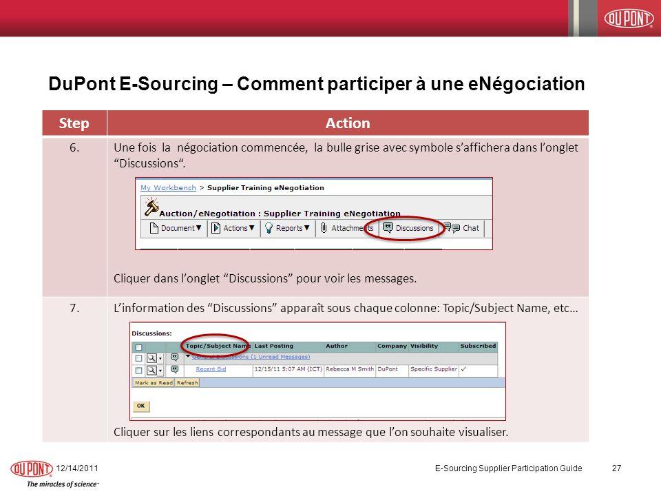 12/14/2011 E-Sourcing Supplier Participation Guide 27 StepAction 6.Une fois la négociation commencée, la bulle grise avec symbole saffichera dans long