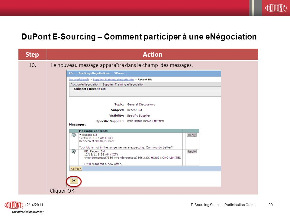 DuPont E-Sourcing – Comment participer à une eNégociation 12/14/2011 E-Sourcing Supplier Participation Guide 30 StepAction 10. Le nouveau message appa