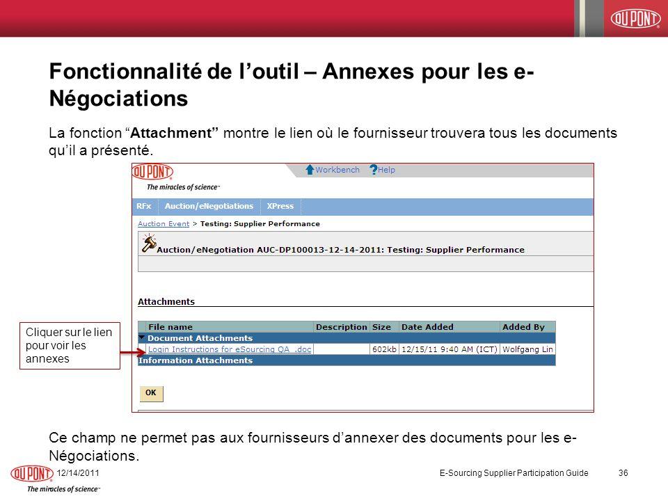 Fonctionnalité de loutil – Annexes pour les e- Négociations La fonction Attachment montre le lien où le fournisseur trouvera tous les documents quil a