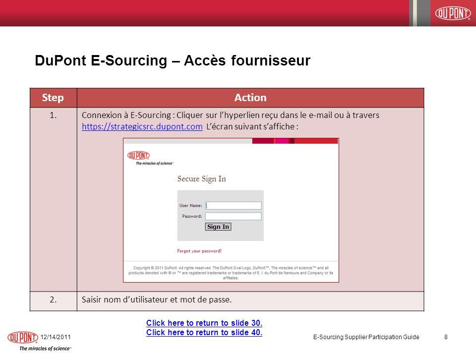 DuPont E-Sourcing – Comment participer à une eNégociation 12/14/2011 E-Sourcing Supplier Participation Guide 29 StepAction 9.Entrer le message dans le champ Message Contents et cliquer sur OK pour lenvoyer au fournisseur.