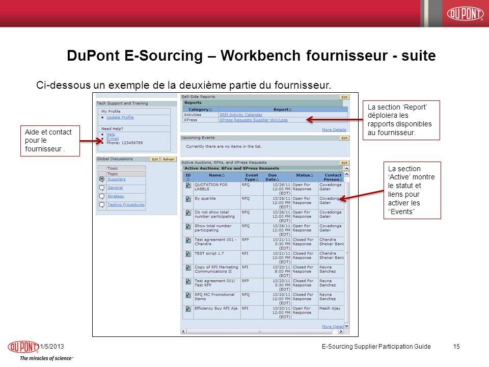 11/5/2013 E-Sourcing Supplier Participation Guide 15 Ci-dessous un exemple de la deuxième partie du fournisseur. DuPont E-Sourcing – Workbench fournis