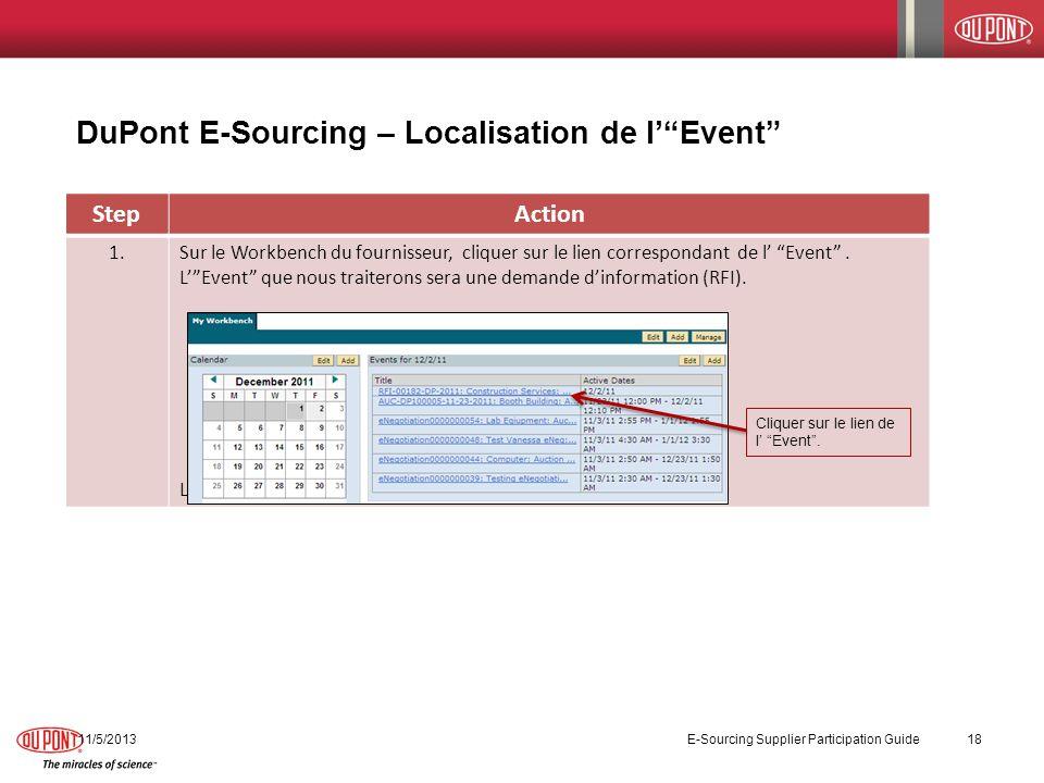 StepAction 1.Sur le Workbench du fournisseur, cliquer sur le lien correspondant de l Event. LEvent que nous traiterons sera une demande dinformation (