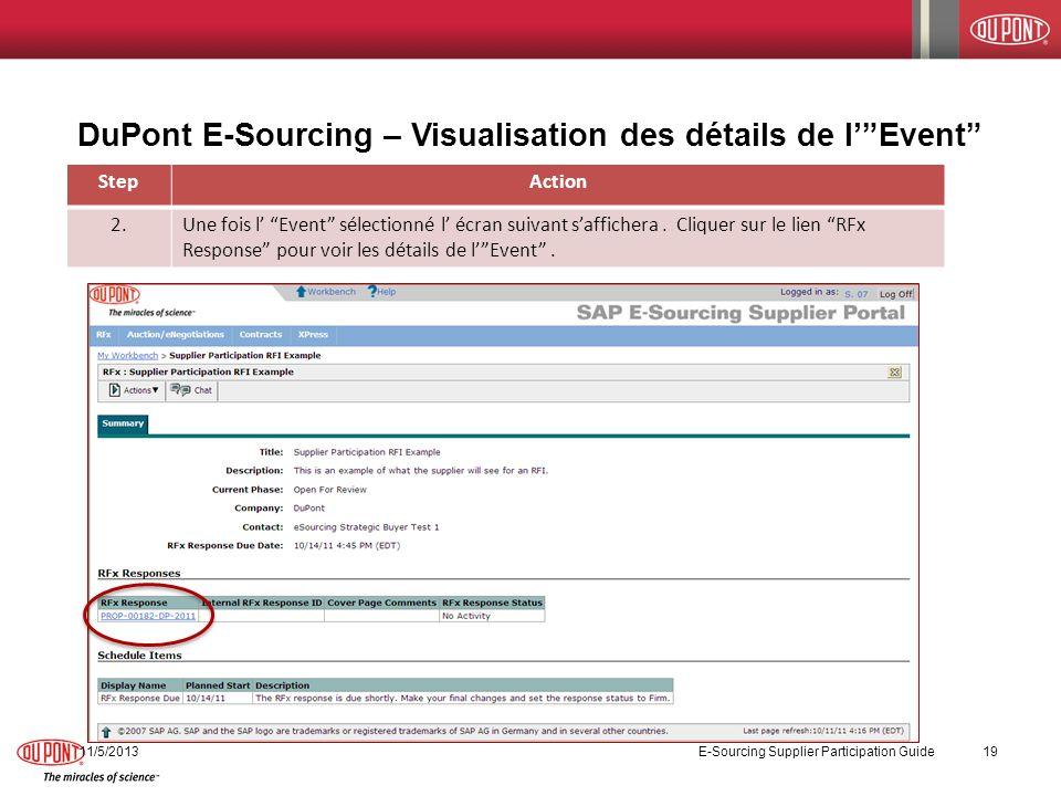 DuPont E-Sourcing – Visualisation des détails de lEvent StepAction 2.Une fois l Event sélectionné l écran suivant saffichera. Cliquer sur le lien RFx