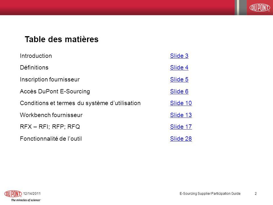 12/14/2011 E-Sourcing Supplier Participation Guide 2 Table des matières IntroductionSlide 3Slide 3 DéfinitionsSlide 4Slide 4 Inscription fournisseur S