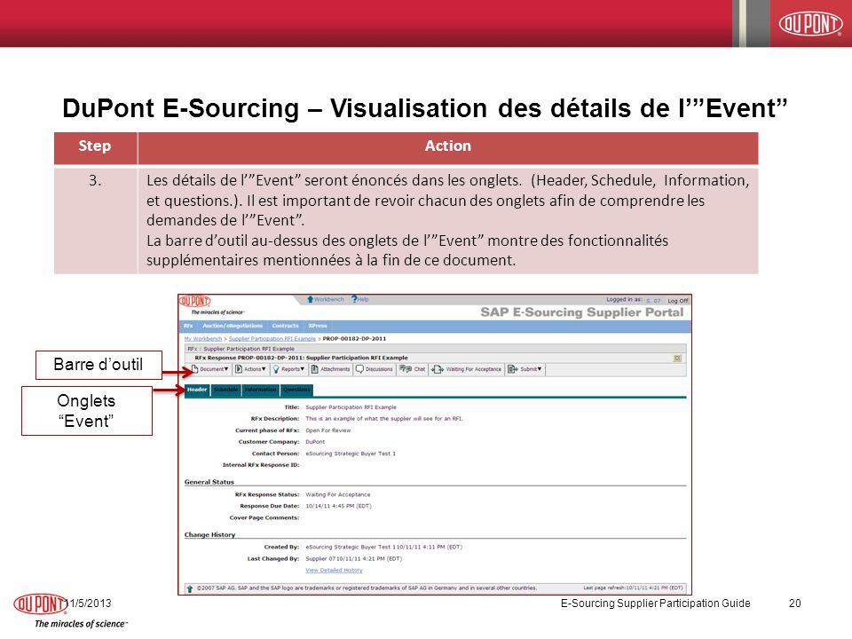 DuPont E-Sourcing – Visualisation des détails de lEvent StepAction 3.Les détails de lEvent seront énoncés dans les onglets. (Header, Schedule, Informa