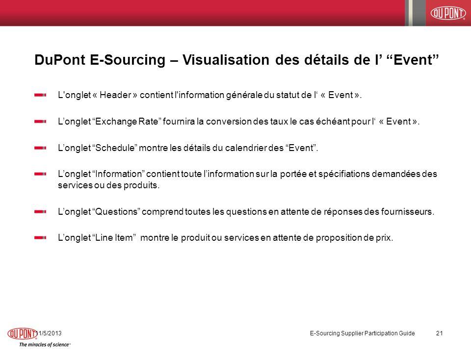 11/5/2013 E-Sourcing Supplier Participation Guide 21 DuPont E-Sourcing – Visualisation des détails de l Event L'onglet « Header » contient l'informati