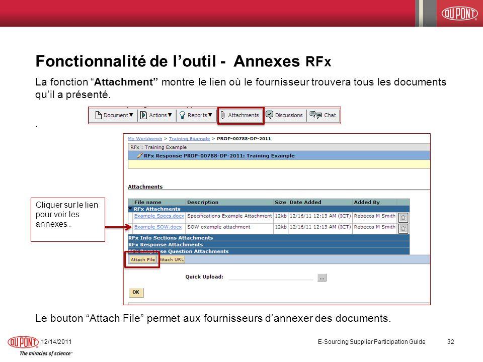 Fonctionnalité de loutil - Annexes RFx La fonction Attachment montre le lien où le fournisseur trouvera tous les documents quil a présenté.. Le bouton