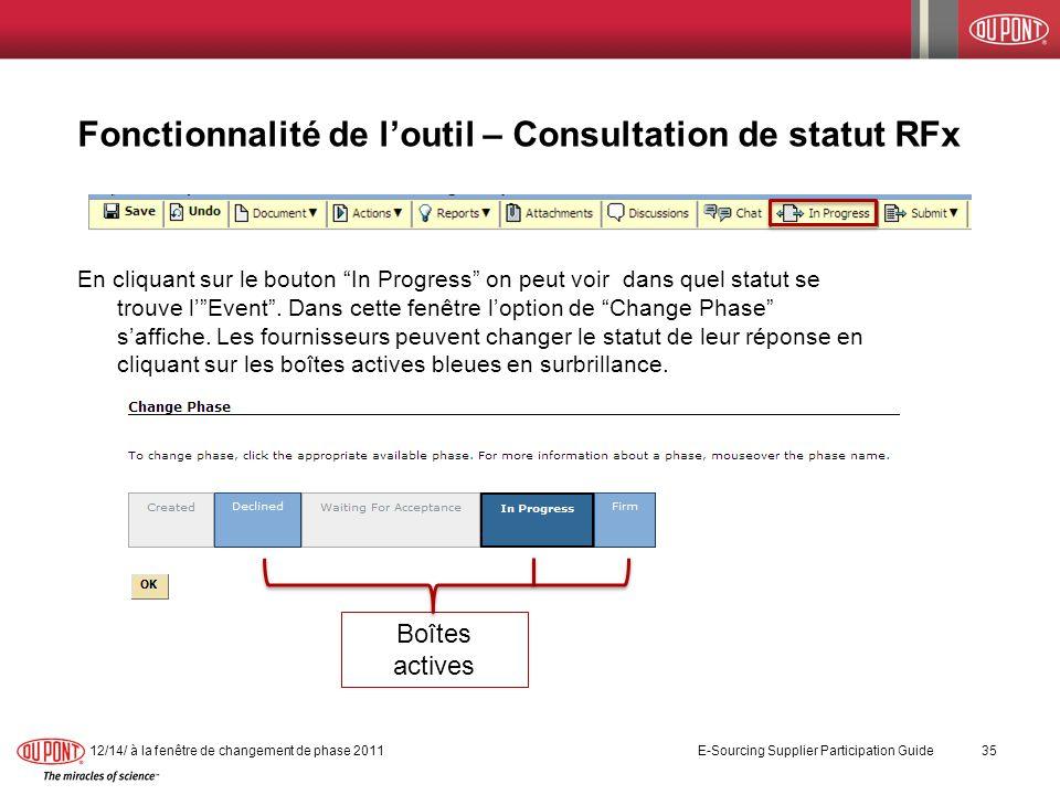 Fonctionnalité de loutil – Consultation de statut RFx En cliquant sur le bouton In Progress on peut voir dans quel statut se trouve lEvent. Dans cette