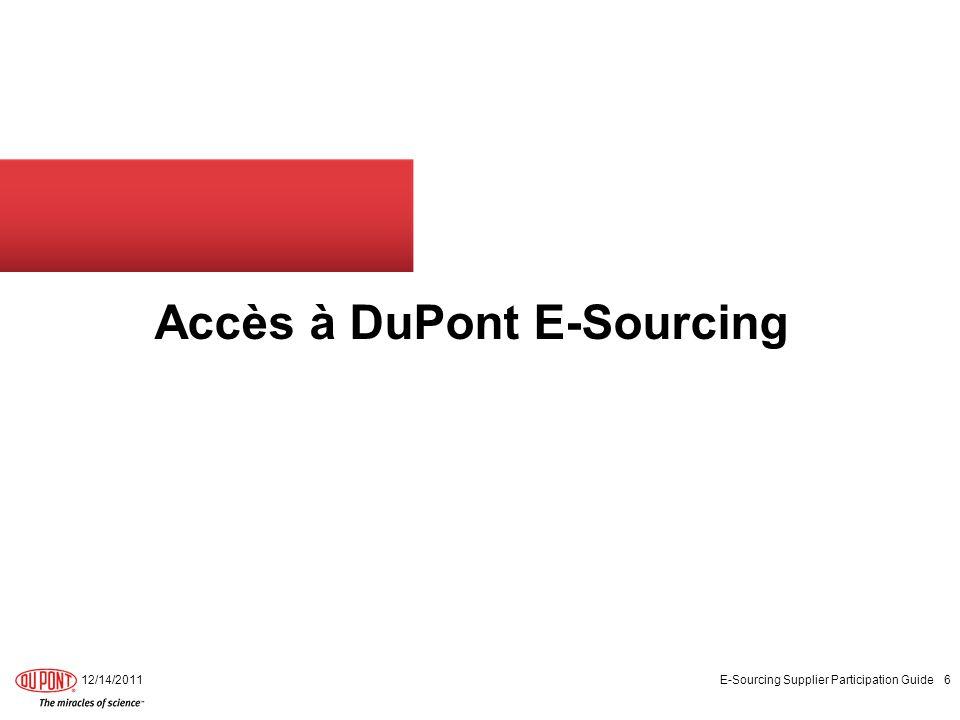 12/14/2011 E-Sourcing Supplier Participation Guide 7 DuPont E-Sourcing – Accès à E-Sourcing système Première connexion Le fournisseur devra immédiatement confirmer quil peut se connecter au système à travers du lien, avec le nom dutilisateur et mot de passe reçus par e- mail.