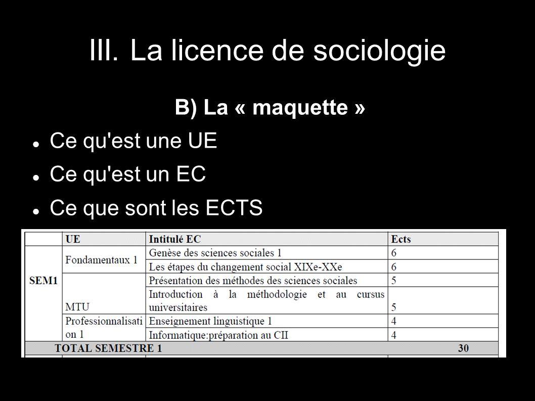 III. La licence de sociologie B) La « maquette » Ce qu'est une UE Ce qu'est un EC Ce que sont les ECTS