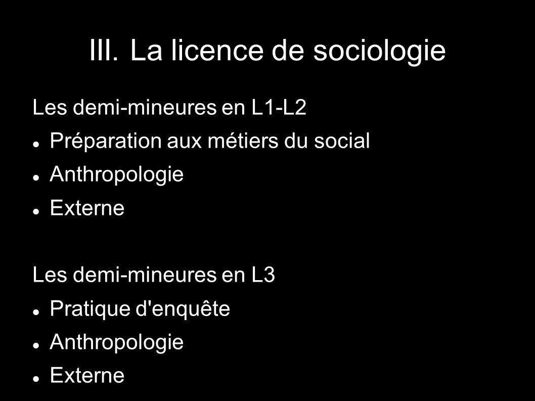 Les demi-mineures en L1-L2 Préparation aux métiers du social Anthropologie Externe Les demi-mineures en L3 Pratique d'enquête Anthropologie Externe