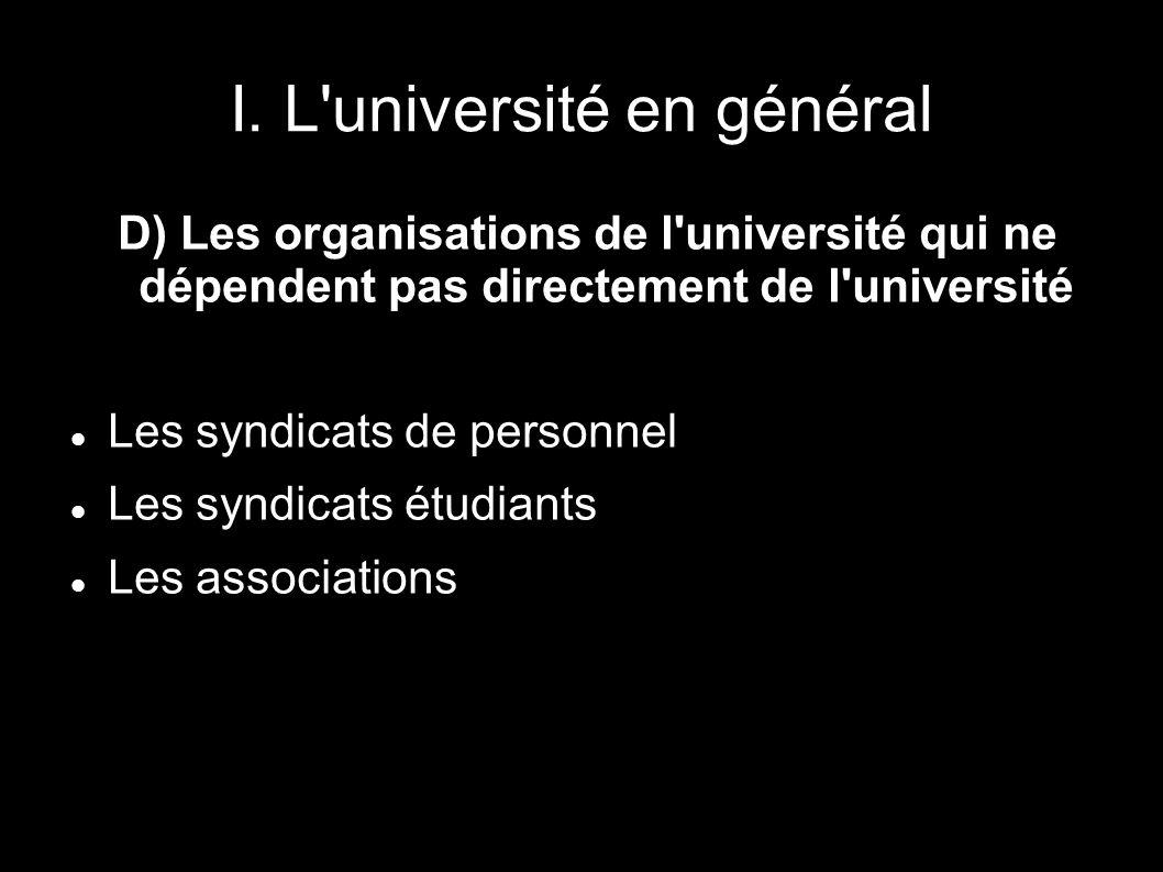 I. L'université en général D) Les organisations de l'université qui ne dépendent pas directement de l'université Les syndicats de personnel Les syndic