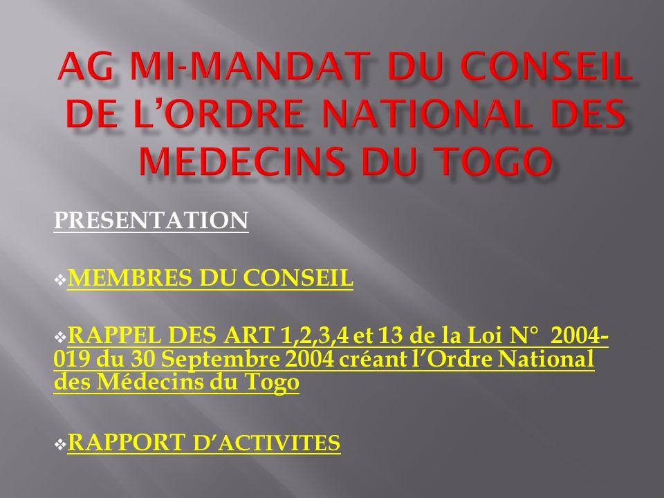 PRESENTATION MEMBRES DU CONSEIL RAPPEL DES ART 1,2,3,4 et 13 de la Loi N° 2004- 019 du 30 Septembre 2004 créant lOrdre National des Médecins du Togo R