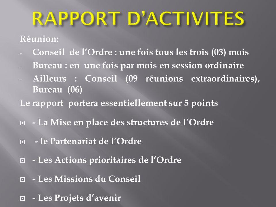 Réunion: - Conseil de lOrdre : une fois tous les trois (03) mois - Bureau : en une fois par mois en session ordinaire - Ailleurs : Conseil (09 réunion