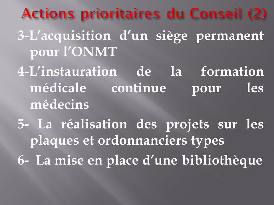 4-Linstauration de la formation médicale continue pour les médecins 5- La réalisation des projets sur les plaques et ordonnanciers types 6- La mise en