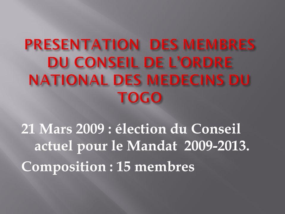 21 Mars 2009 : élection du Conseil actuel pour le Mandat 2009-2013. Composition : 15 membres