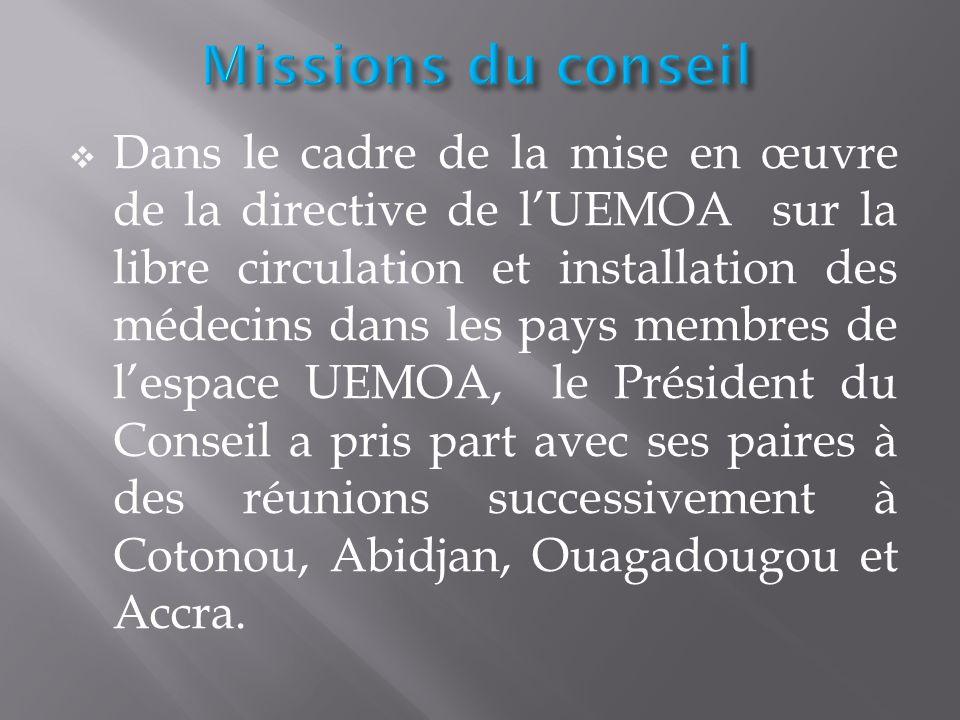 Dans le cadre de la mise en œuvre de la directive de lUEMOA sur la libre circulation et installation des médecins dans les pays membres de lespace UEM