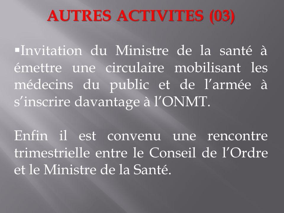 AUTRES ACTIVITES (03) Invitation du Ministre de la santé à émettre une circulaire mobilisant les médecins du public et de larmée à sinscrire davantage