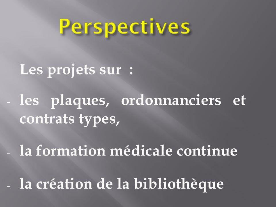 Perspectives Les projets sur : - les plaques, ordonnanciers et contrats types, - la formation médicale continue - la création de la bibliothèque