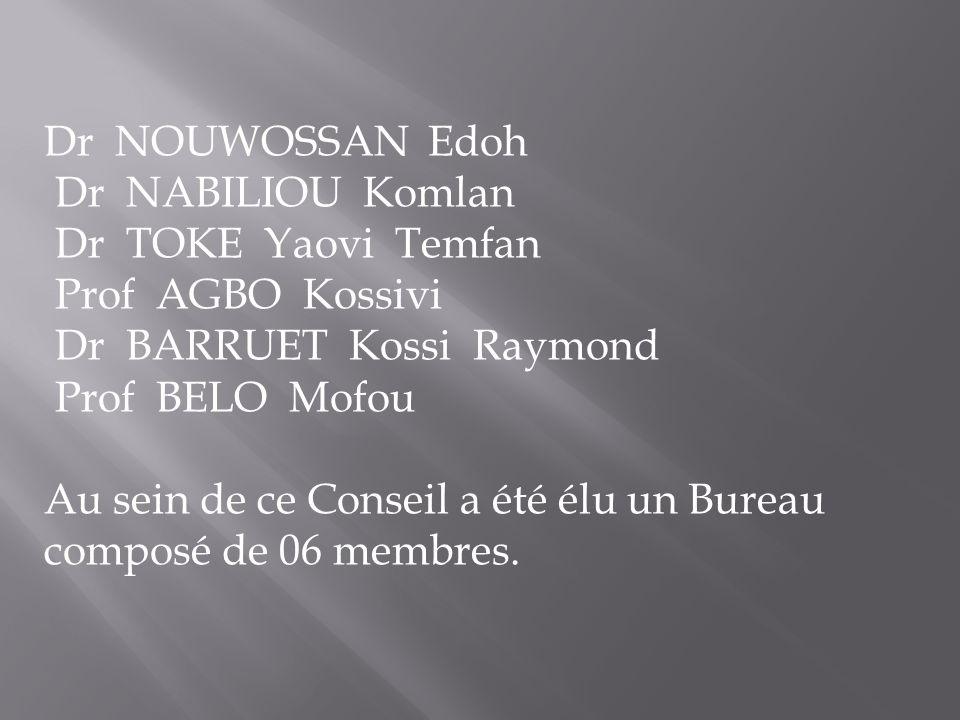 Dr NOUWOSSAN Edoh Dr NABILIOU Komlan Dr TOKE Yaovi Temfan Prof AGBO Kossivi Dr BARRUET Kossi Raymond Prof BELO Mofou Au sein de ce Conseil a été élu u