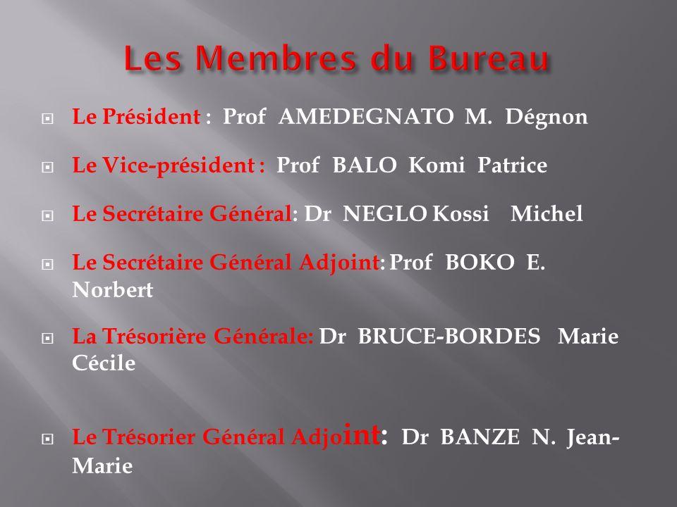 Le Président : Prof AMEDEGNATO M. Dégnon Le Vice-président : Prof BALO Komi Patrice Le Secrétaire Général: Dr NEGLO Kossi Michel Le Secrétaire Général
