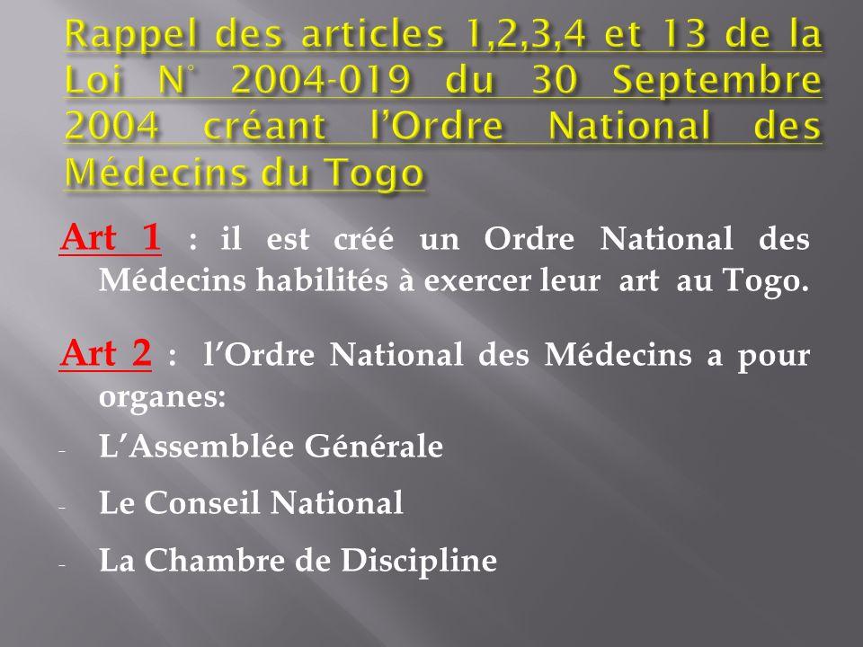 Art 1 : il est créé un Ordre National des Médecins habilités à exercer leur art au Togo. Art 2 : lOrdre National des Médecins a pour organes: - LAssem