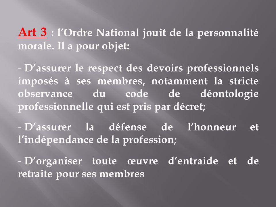 Art 3 : lOrdre National jouit de la personnalité morale. Il a pour objet: - Dassurer le respect des devoirs professionnels imposés à ses membres, nota