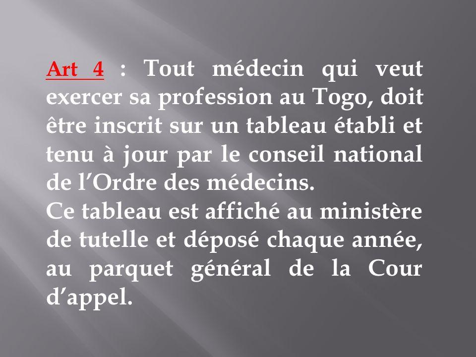 Art 4 : Tout médecin qui veut exercer sa profession au Togo, doit être inscrit sur un tableau établi et tenu à jour par le conseil national de lOrdre