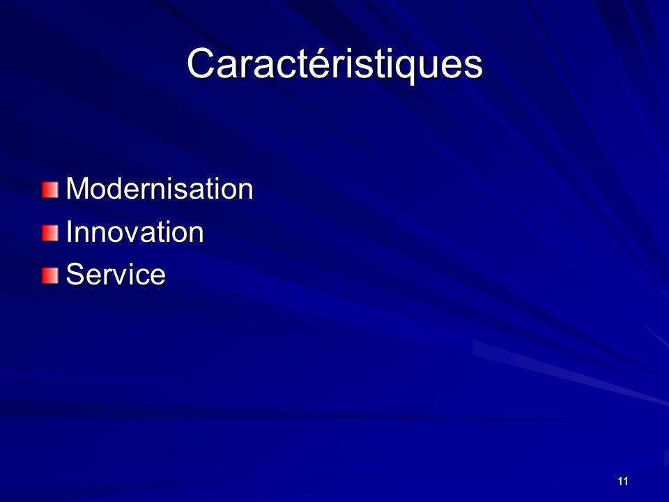 11 Caractéristiques ModernisationInnovationService