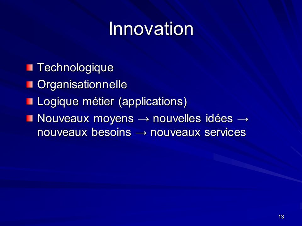 13 Innovation Technologique Organisationnelle Logique métier (applications) Nouveaux moyens nouvelles idées nouveaux besoins nouveaux services