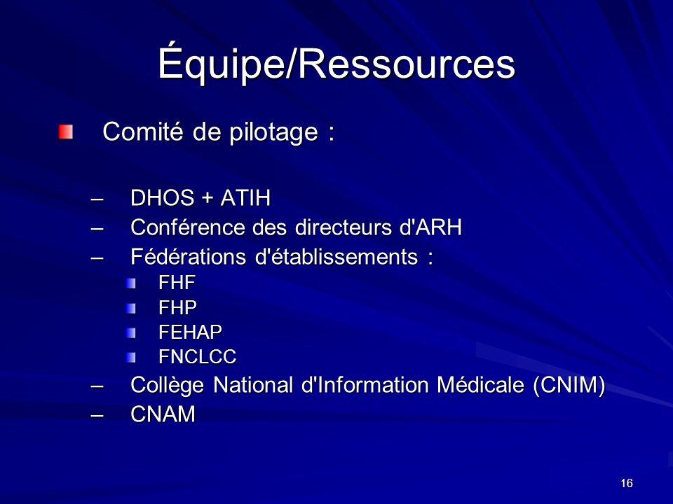 16 Équipe/Ressources Comité de pilotage : –DHOS + ATIH –Conférence des directeurs d'ARH –Fédérations d'établissements : FHFFHPFEHAPFNCLCC –Collège Nat