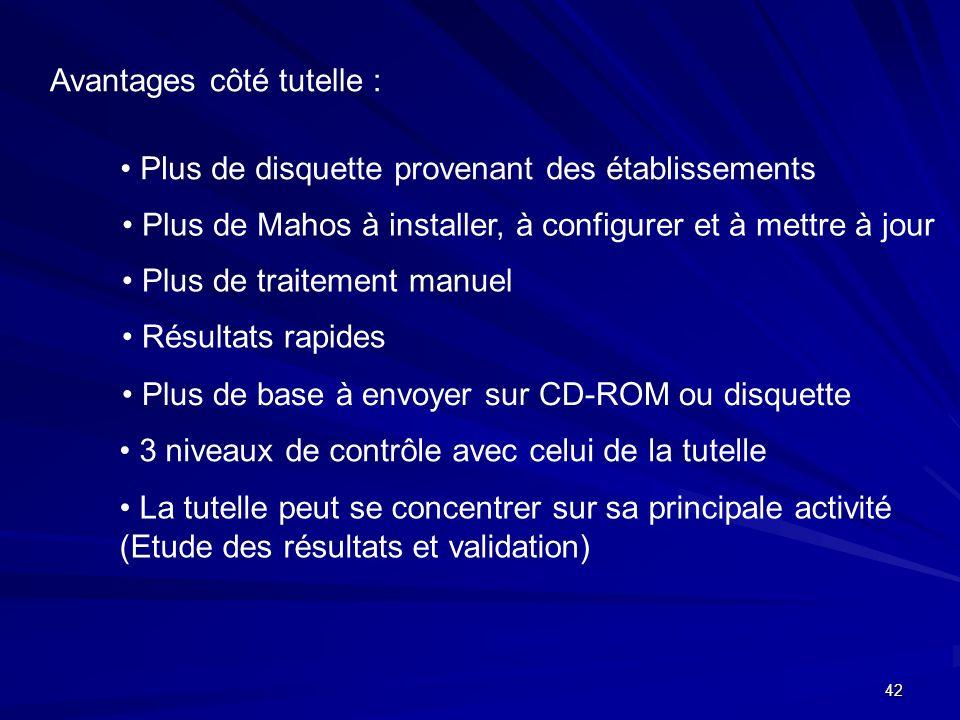 42 Avantages côté tutelle : Plus de disquette provenant des établissements Plus de Mahos à installer, à configurer et à mettre à jour Plus de traiteme