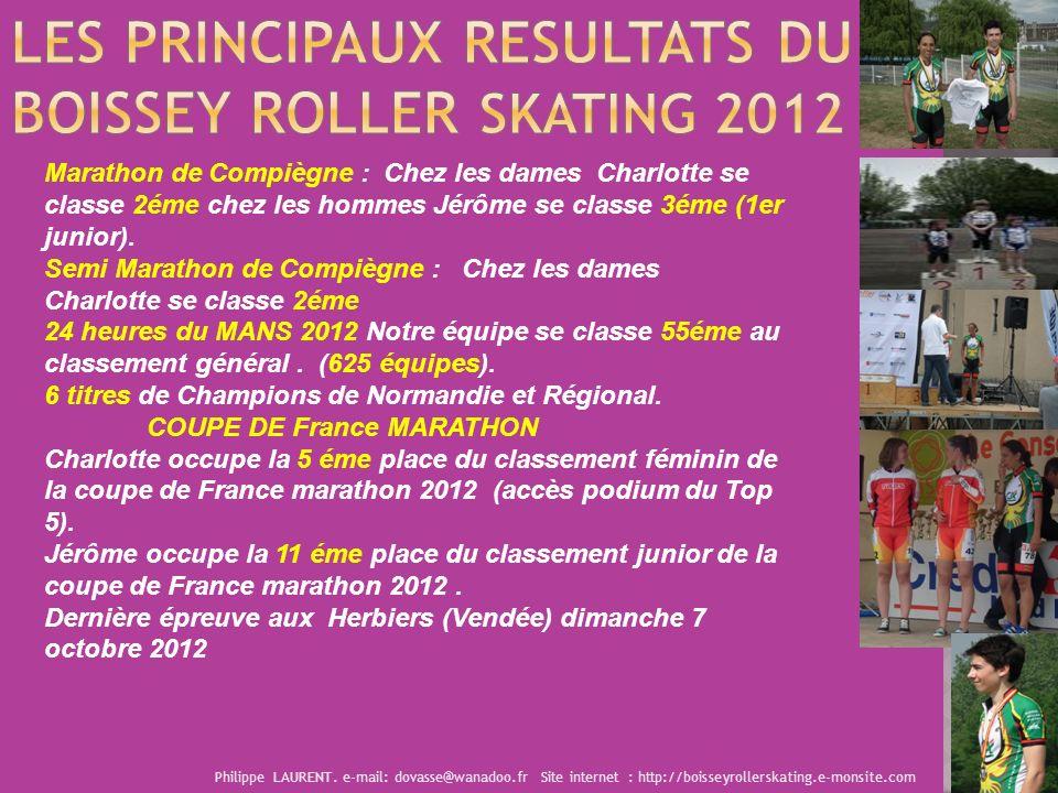 Marathon de Compiègne : Chez les dames Charlotte se classe 2éme chez les hommes Jérôme se classe 3éme (1er junior). Semi Marathon de Compiègne : Chez