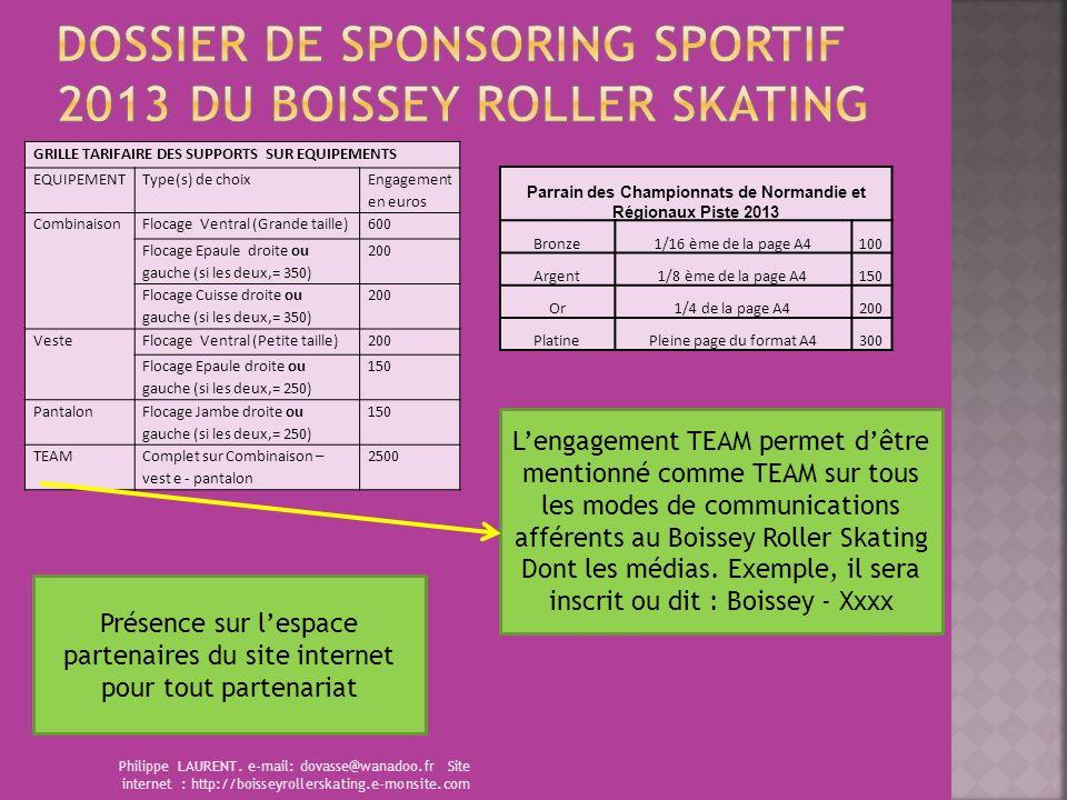 Philippe LAURENT. e-mail: dovasse@wanadoo.fr Site internet : http://boisseyrollerskating.e-monsite.com GRILLE TARIFAIRE DES SUPPORTS SUR EQUIPEMENTS E