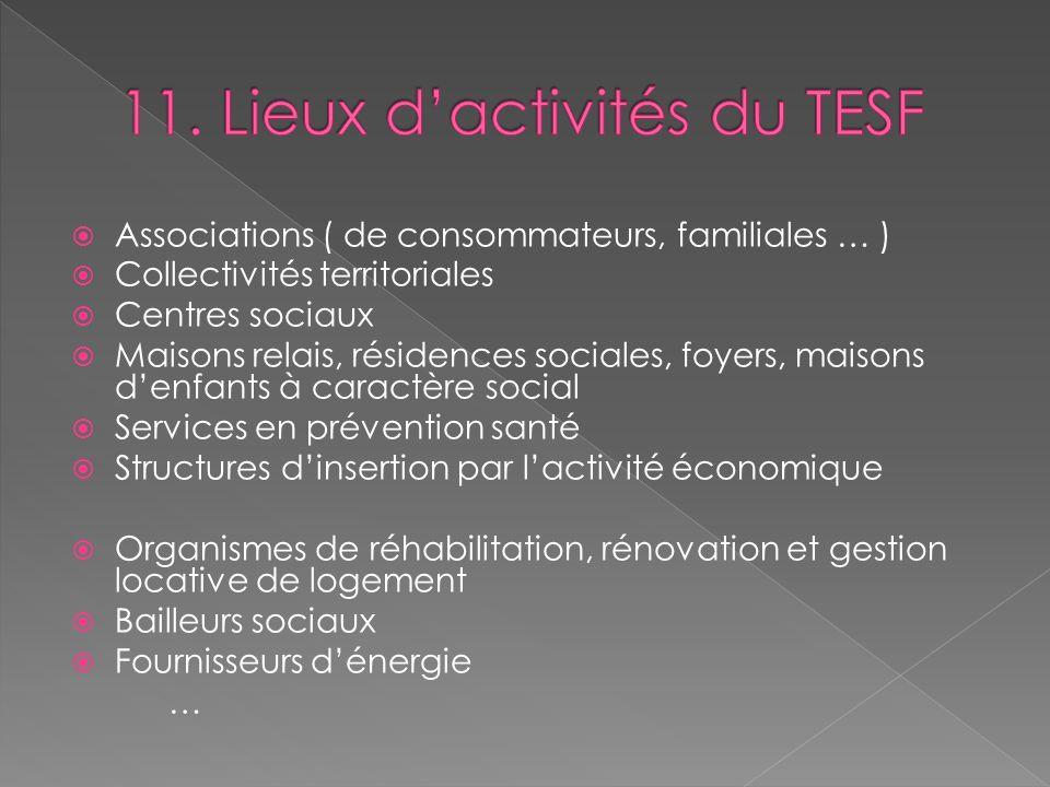 Associations ( de consommateurs, familiales … ) Collectivités territoriales Centres sociaux Maisons relais, résidences sociales, foyers, maisons denfa