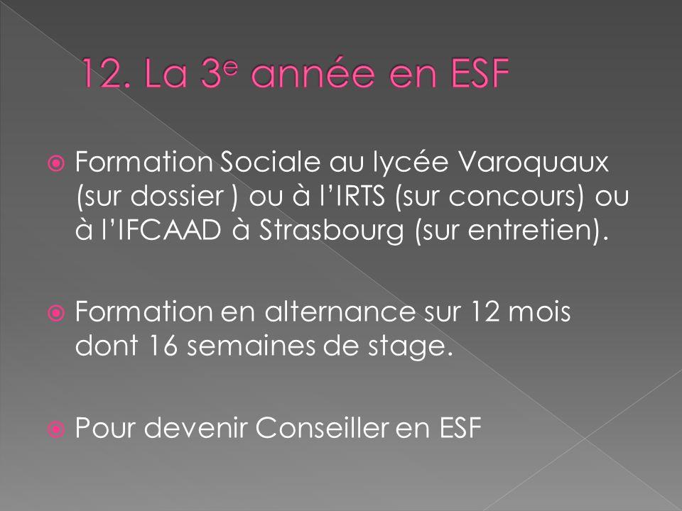 Formation Sociale au lycée Varoquaux (sur dossier ) ou à lIRTS (sur concours) ou à lIFCAAD à Strasbourg (sur entretien). Formation en alternance sur 1